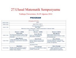PDF - 27. Ulusal Matematik Sempozyumu