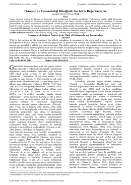 Ortopedi ve Travmatoloji Kliniğinde Geriatrik