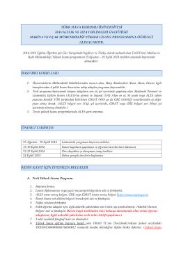 türk hava kurumu üniversitesi havacılık ve uzay bilimleri enstitüsü