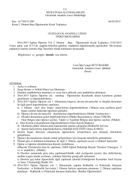 13/02/2015 Tarihli II.Dönem başı Öğretmenler Kurulu Gündem