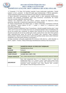 2014-2015 BADMİNTON GENÇLER GRUP YARIŞMALARI