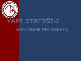 Yapı Statiği I Dersi Sunusu