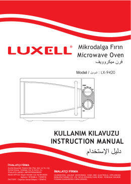 LX-9420 MİKRODALGA FIRIN KILAVUZU (TR-GB-SA