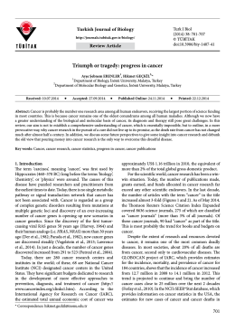 Triumph or tragedy: progress in cancer - Scientific Journals