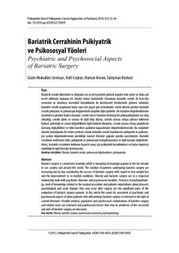Bariatrik Cerrahinin Psikiyatrik ve Psikososyal Yönleri