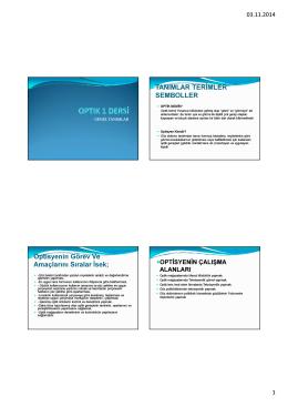 Optik genel tanımlar PDF