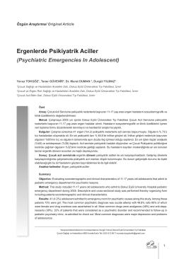 Puader Dergileri 5.Sayı - Pediatri Uzmanlık Akademisi Derneği