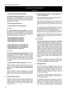 Ulusal Off-Road Kuralları - Türkiye Otomobil Sporları Federasyonu