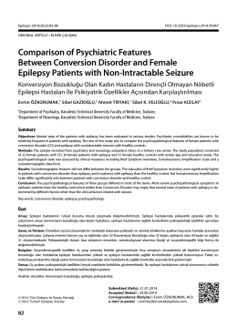 Comparison of Psychiatric Features Between