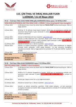 115. ÇİN İTHAL VE İHRAÇ MALLARI FUARI 1.DÖNEM / 15-19