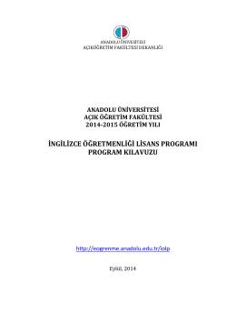 ingilizce öğretmenliği lisans programı program kılavuzu