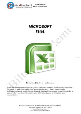 Microsoft Excel Ders Notu 3