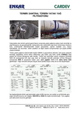 termik santral türbin yatak yağ filtrasyonu