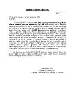EK 4 Geçici Teminat Mektubu Örneği