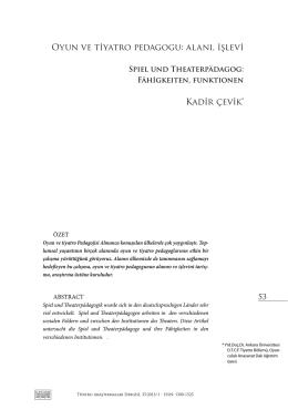 Oyun ve tiyatro pedagogu - Ankara Üniversitesi Dergiler Veritabanı