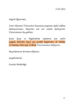 17.07.2014 Değerli Öğrencimiz, İzmir Ekonomi