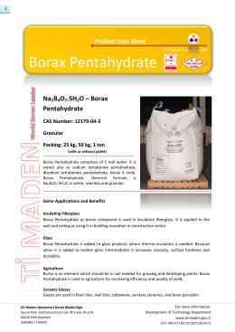 Borax Pentahydrate - Eti Maden İşletmeleri