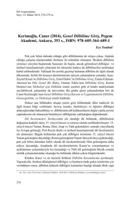 (2014), Genel Dilbilime Giriş, Pegem Akademi