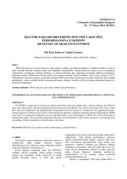 işletme parametrelerinin pem tipi yakıt pili performansına