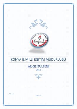 konya ar-ge bülteni 2014 - konya il millî eğitim müdürlüğü