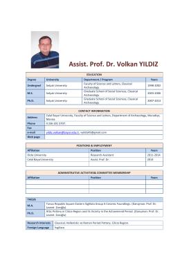 Assist. Prof. Dr. Volkan YILDIZ