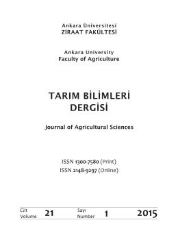 ISSN 1300-7580 - Tarım Bilimleri Dergisi