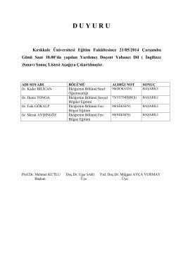 D U Y U R U - Kırıkkale Üniversitesi