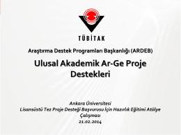 tübitak ar-ge proje destekleri - KASAUM