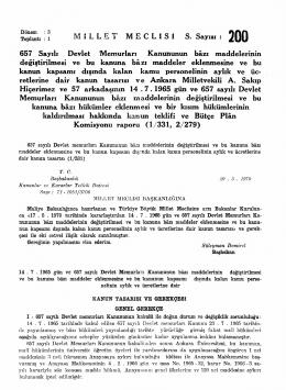 M İ L L E T M E C L İ S İ S. Sayısı : 2 0 0 657 Sayılı Devlet Memurları