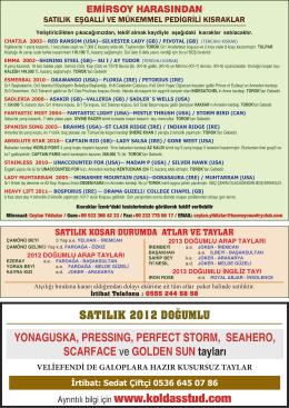 SATILIK 2012 DOĞUMLU YONAGUSKA, PRESSING