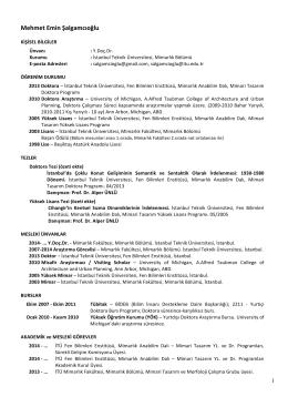 29 Mart 2014 CV Özgeçmiş - İTÜ Akademi