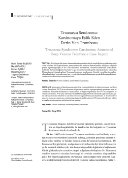 Trousseau Sendromu - Ulusal Vasküler Cerrahi Derneği