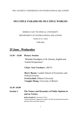 25 June , Wednesday - METU | International Relations