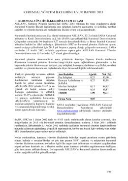 kurumsal yönetim ilkelerine uyum raporu 2013