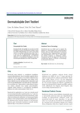 Dermatolojide Deri Testleri Uzm. Dr. Belma Türsen, Prof