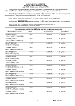 28 ocak 2015 tarihli araç ihale listesi