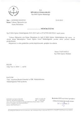 T.c. DİNAR KAYMAKAMLIĞI - Dinar İlçe Milli Eğitim Müdürlüğü