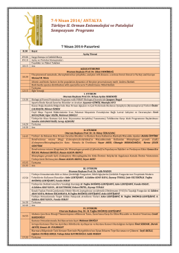 Sempozyum Programı - Türkiye II. Orman Entomolojisi ve Patolojisi