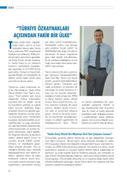 """""""TÜRKİYE ÖZKAYNAKLARI AÇISINDAN FAKİR BİR"""