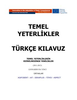 temel yeterlikler türkçe kılavuz - Basic Competences