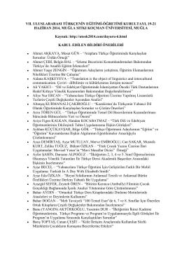Kabul edilen bildiri önerileri - Dil Bilimi