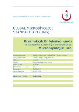 Ulusal Mikrobiyoloji Standartları - Türkiye Halk Sağlığı Kurumu