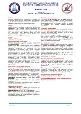 Koagülasyon Dökümanı - KBUDEK Eksternal Kalite Kontrol Programı