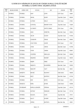 istanbul ili idari yargı seçmen listesi 12 ekim 2014 hâkimler ve