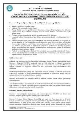 İlanını - Erasmus - Balıkesir Üniversitesi