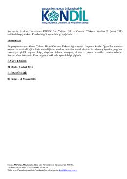 Necmettin Erbakan Üniversitesi KONDİL`de Yabancı Dil ve Osmanlı