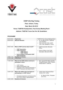 COST Info Day Agenda