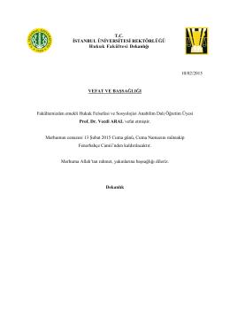 Vefat ve Başsağlığı - İstanbul Üniversitesi | Hukuk Fakültesi
