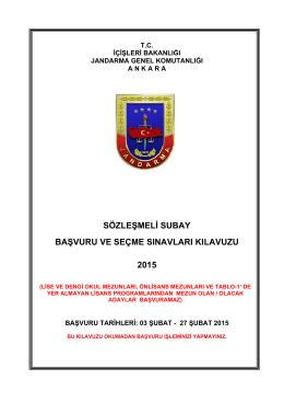 2015 Yılı Sözleşmeli Subay Başvuru ve Seçme Sınavları Kılavuzu