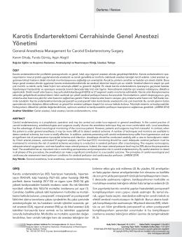 Karotis Endarterektomi Cerrahisinde Genel Anestezi Yönetimi